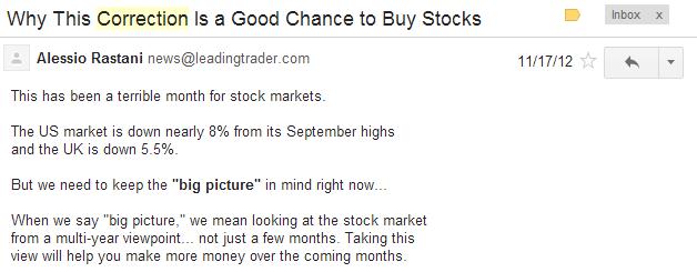 stock market correction email