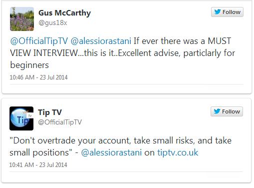 Tweets of Alessio Rastani on Tip TV
